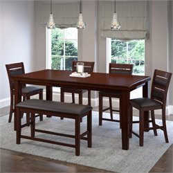 6 Piece Extendable Leather Counter Dining Set in Chocolate