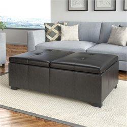 Leather Storage Ottoman in Black