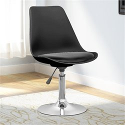 Adjustable Faux Leather Bar Stool in Black (Set of 2)