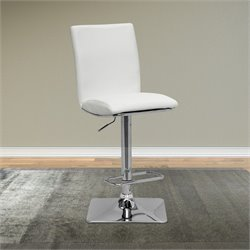 Adjustable Leather Bar Stool in White (Set of 2)