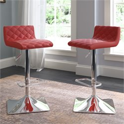 Adjustable Leather Bar Stool in Red (Set of 2)