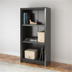 3 Shelf Faux Wood Grain Bookcase in Black