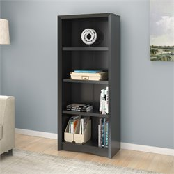 4 Shelf Faux Wood Grain Bookcase in Black