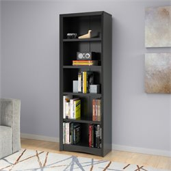 5 Shelf Faux Wood Grain Bookcase in Black