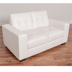 Tufted Leather Loveseat in White