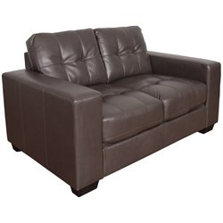 Tufted Leather Loveseat in Brown