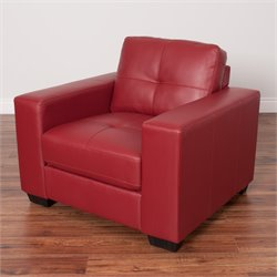 Tufted Leather Chair in Red