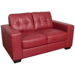 Tufted Leather Loveseat in Red