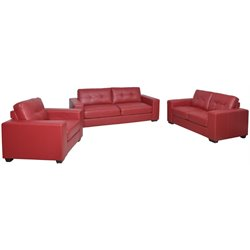 3 Piece Tufted Leather Sofa Set in Red
