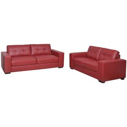 2 Piece Tufted Leather Sofa Set in Red