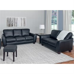 2 Piece Leather Sofa Set in Black