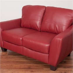 Leather Loveseat in Red