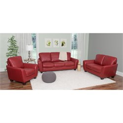 3 Piece Leather Sofa Set in Red