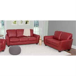 2 Piece Leather Sofa Set in Red