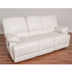 Leather Reclining Sofa in White