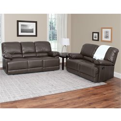 2 Piece Leather Reclining Sofa Set in Brown