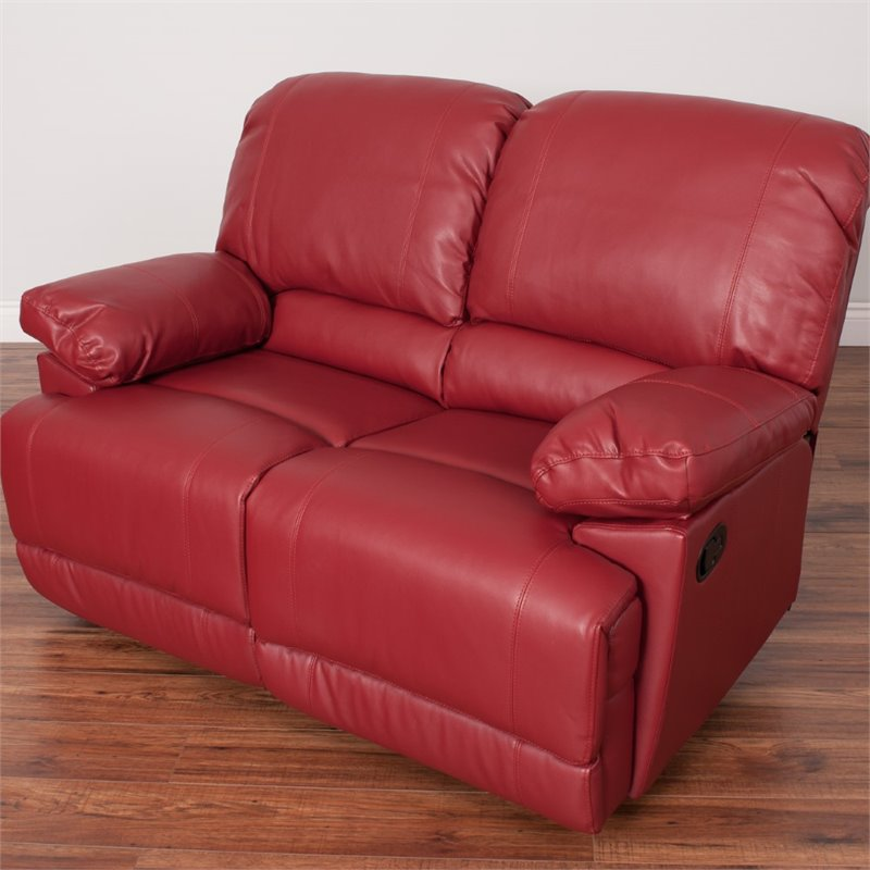 Leather Reclining Loveseat In Red Lzy 351 L