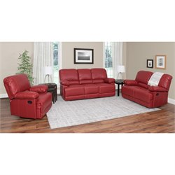 3 Piece Leather Reclining Sofa Set in Red