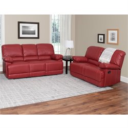 2 Piece Leather Reclining Sofa Set in Red