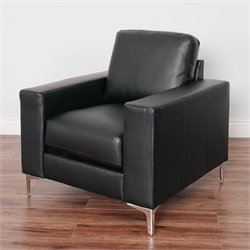 Contemporary Leather Chair in Black