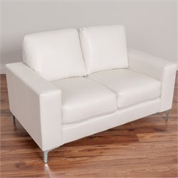 Contemporary Leather Loveseat in White