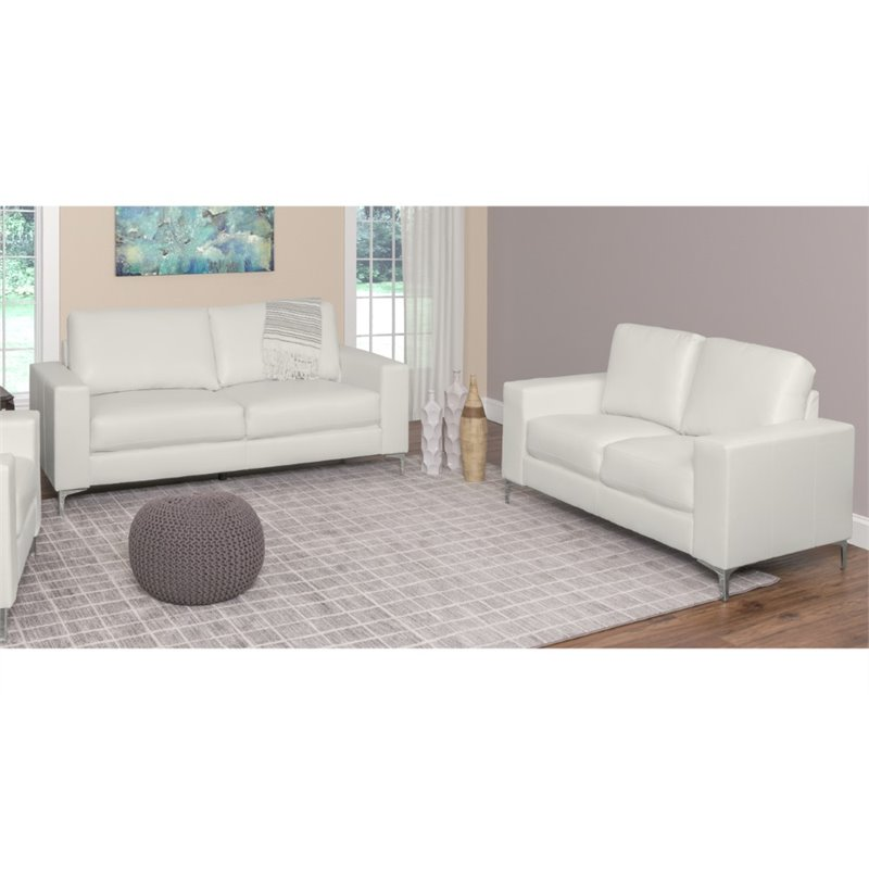 2 piece contemporary leather sofa set in white lzy 411 z2 for Marthena 2 piece white leather sectional sofa with ottoman