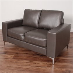 Contemporary Leather Loveseat in Brown