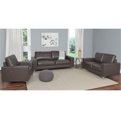 3 Piece Contemporary Leather Sofa Set in Brown
