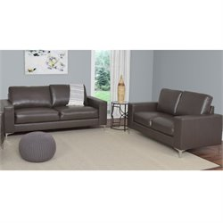 2 Piece Contemporary Leather Sofa Set in Brown