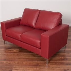 Contemporary Leather Loveseat in Red