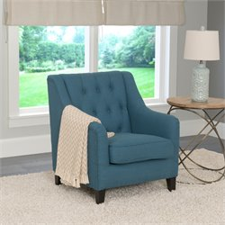 Diamond Tufted Arm Chair in Blue