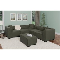 5 Piece Sectional with Ottoman in Army Green
