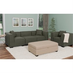 4 Piece Sectional Sofa and Chair Set in Army Green
