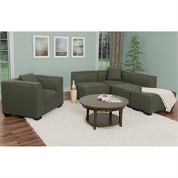 5 Piece Sectional Chaise and Chair Set in Army Green