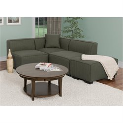 4 Piece Left Facing Sectional in Army Green