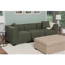 3 Piece Sectional Sofa in Army Green