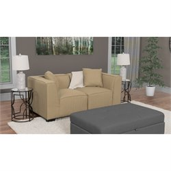 2 Piece Sectional Loveseat in Beige