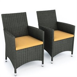 Outdoor Chair in River Rock Black Weave (Set of 2)