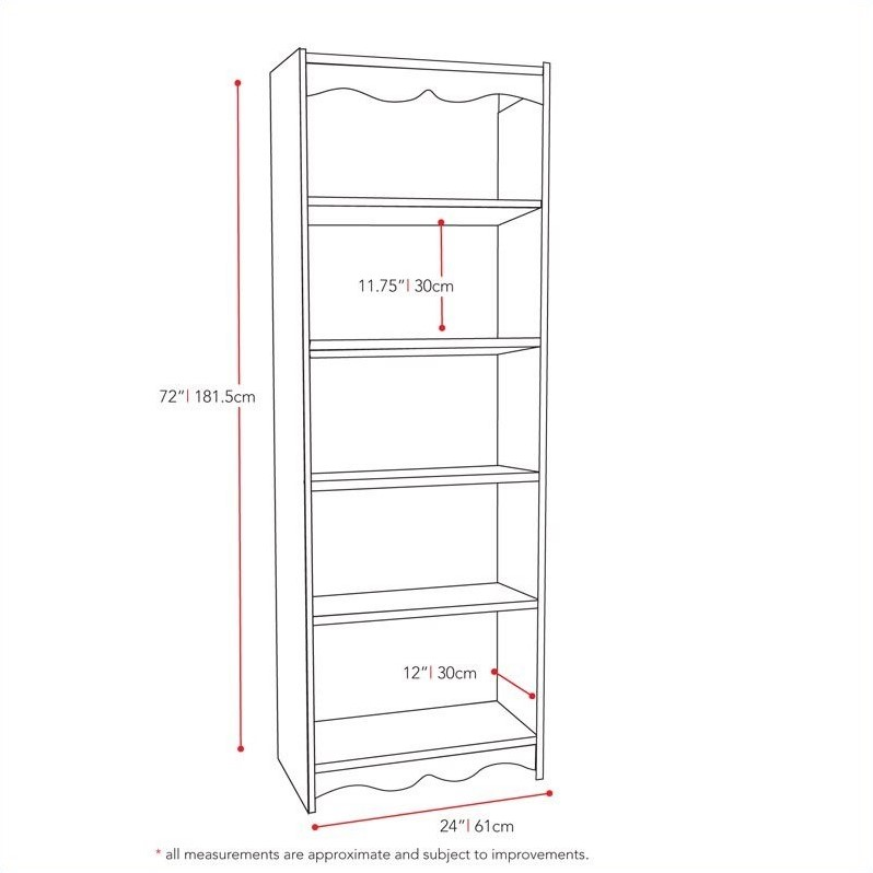 72' Tall Bookcase in Frost White