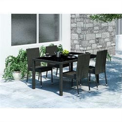 5 Piece Wicker Patio Dining Set in Black