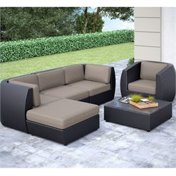 CorLiving Seattle Curved 6 pc Sofa Chaise Lounge Chair Patio Set
