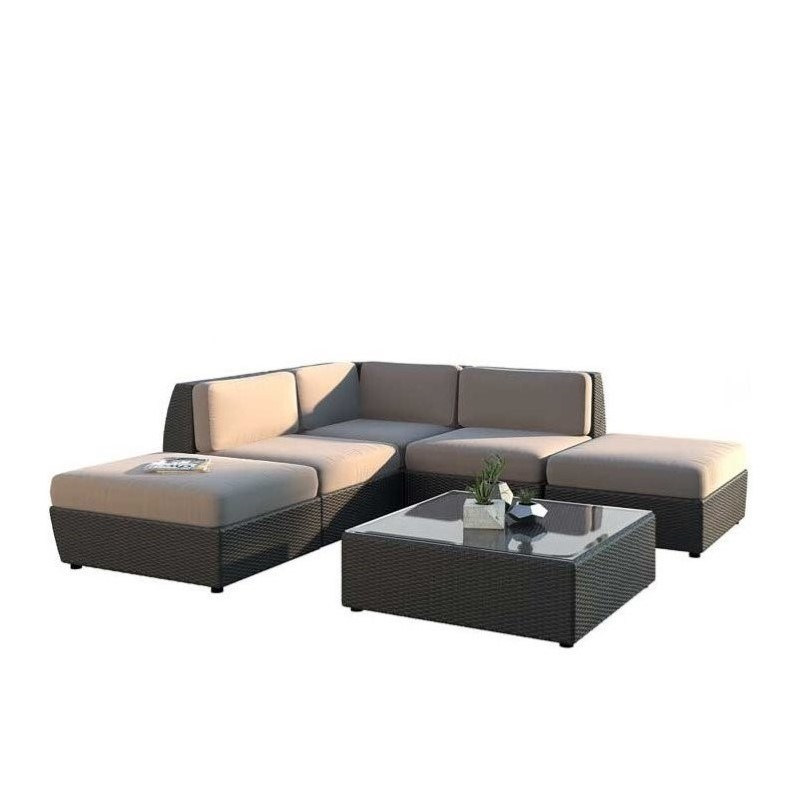 Curved 6 pc chaise lounge sectional patio set pps 607 z for Curved lounge