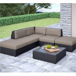 CorLiving Seattle Curved 6 pc Chaise Lounge Sectional Patio Set