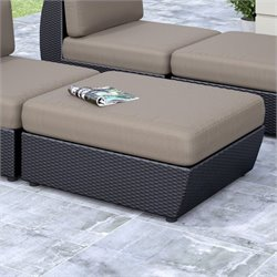 Patio Ottoman in Textured Black Weave