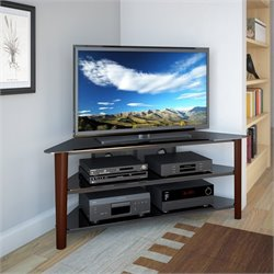 Wood Veneer TV Stand in Dark Espresso
