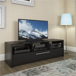 TV Component Bench in Wood Grain Black