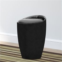 Faux Leather Storage Stool in Black