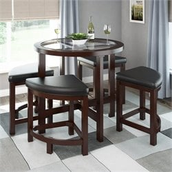 Stained Dining Table 4 Stools Dark Espresso