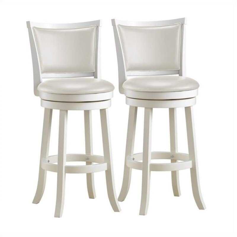 29 Quot High Back Bar Stool In White Set Of 2 Dwg 119 B