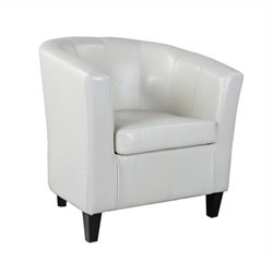Leather Club Barrel Chair in White